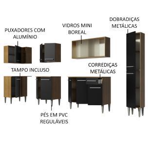 Cozinha Completa de Canto Madesa Emilly Space com Armário de Vidro, Balcão e Paneleiro