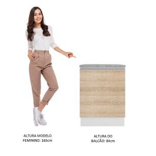 Balcão Madesa Glamy 60 cm 1 Porta - Branco/Saara
