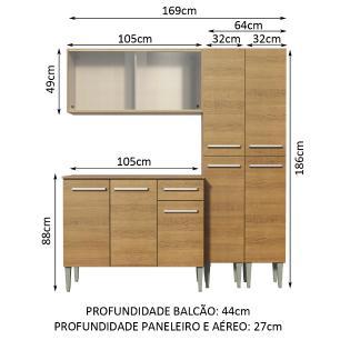Cozinha Completa Madesa Emilly Fly com Armário Vidro, Balcão e Paneleiros