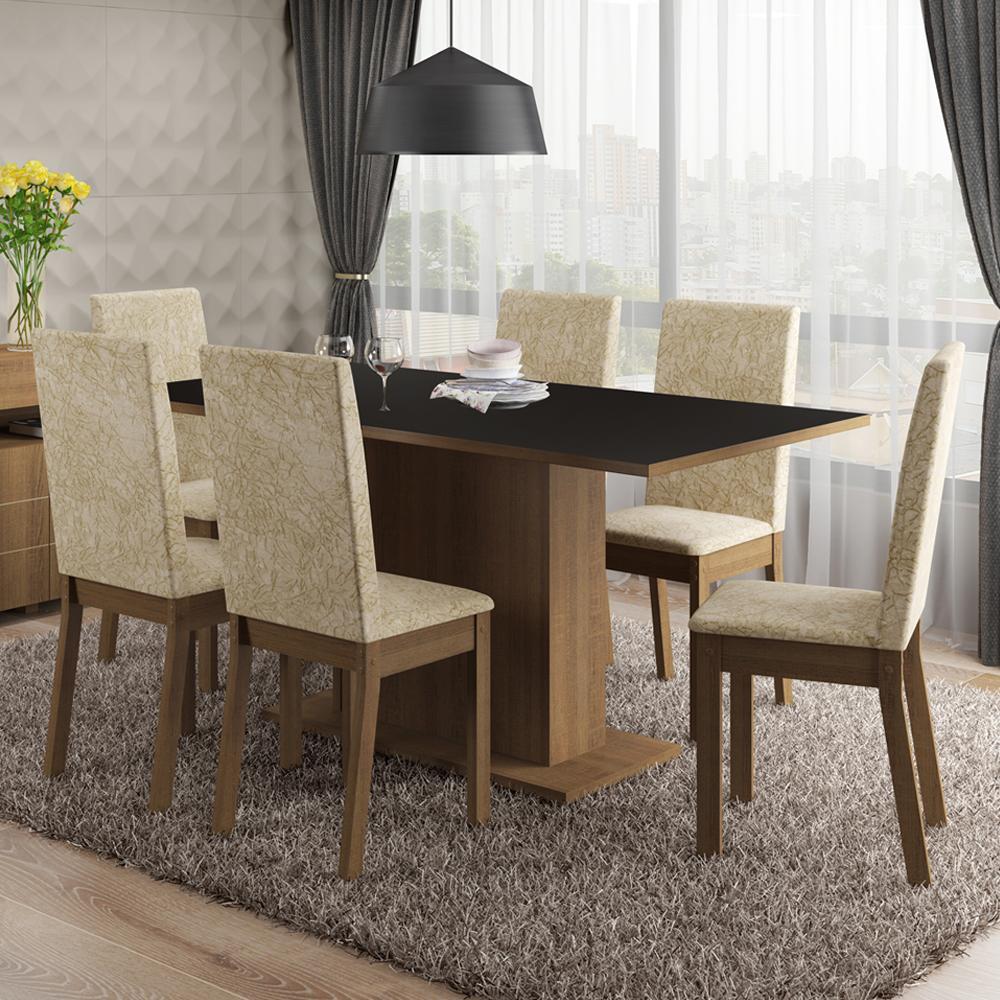 Conjunto Sala de Jantar Malu Madesa Tampo de Madeira com 6 cadeiras