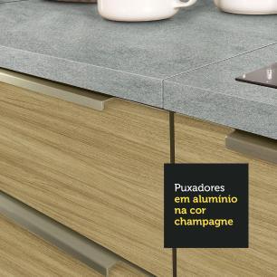 Balcão Madesa Lux 60 cm 3 Gavetas - Branco/Carvalho