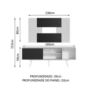 Rack Madesa Cairo e Painel para TV até 58 Polegadas com Pés de Madeira - Branco/Preto 73C7