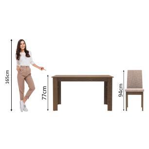 Conjunto Sala de Jantar Madesa Cibele Mesa Tampo de Madeira com 6 Cadeiras