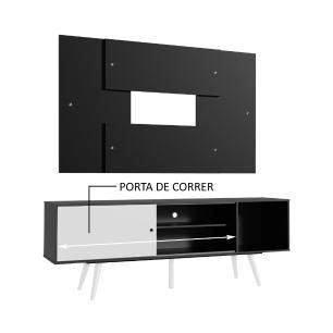 Rack Madesa Cairo e Painel para TV até 58 Polegadas com Pés de Madeira - Preto/Branco 7777