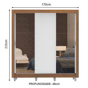 Guarda-Roupa Casal Madesa Lyon 3 Portas de Correr com Espelhos 2 Gavetas com Pés