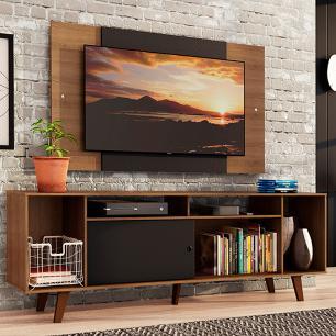 Rack Madesa Cancun e Painel para TV até 58 Polegadas com Pés - Rustic/Preto 7KC1