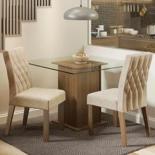 Conjunto Sala de Jantar Madesa Cassia Mesa Tampo de Vidro com 2 Cadeiras