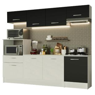 Cozinha Completa Madesa Onix 240003 com Armário e Balcão - Branco/Preto 0977