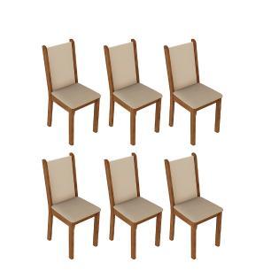 Kit 6 Cadeiras de Jantar 4291 Madesa Rustic/Crema/Pérola