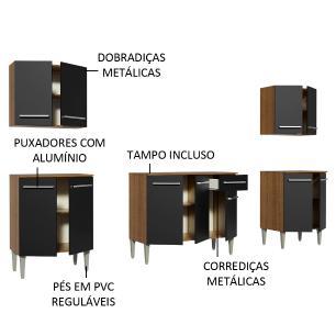 Cozinha Completa Madesa Emilly King com Balcão e Armário - Rustic/Preto