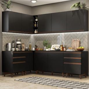 Cozinha Completa de Canto Madesa Reims 382002 com Armário e Balcão - Preto