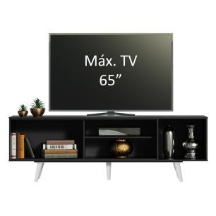 Rack Madesa Dubai para TV até 65 Polegadas com Pés - Preto/Branco/Branco