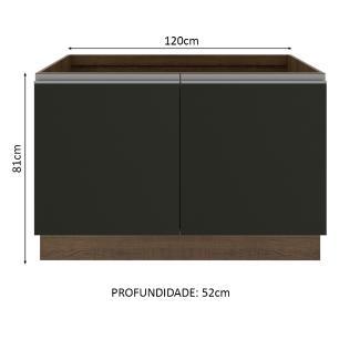 Balcão de Pia Madesa Glamy 120 cm 2 Portas - Rustic/Preto