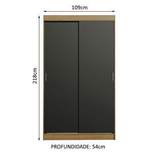 Guarda-Roupa Solteiro Madesa Tokio 2 Portas de Correr 2 Gavetas - Rustic/Preto