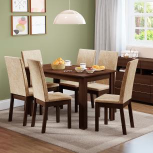 Conjunto Sala de Jantar Sara Madesa Mesa Tampo de Madeira com 6 Cadeiras