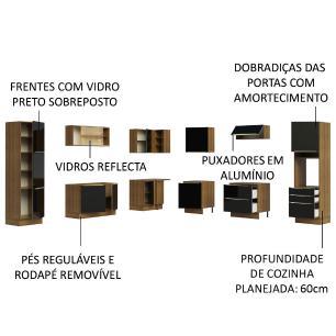 Cozinha Completa Madesa Lux de Canto com Armário e Balcão - Rustic/Preto