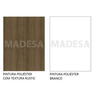 Rack Madesa Cairo e Painel para TV até 65 Polegadas com Pés de Madeira - Rustic/Branco/Rustic