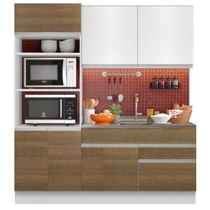 Cozinha Compacta Madesa Lívia 6 Portas 2 Gavetas (Sem Tampo e Pia) - Branco/Rustic/Branco