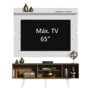 Rack Madesa Cairo e Painel para TV até 65 Polegadas com Pés de Madeira - Rustic/Branco