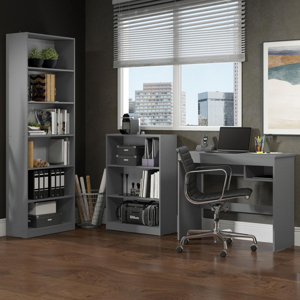 Escrivaninha Madesa Rubi + Estante 6908 + Estante 6907 - Cinza