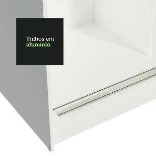 Guarda-Roupa Casal Madesa Reno 3 Portas de Correr com Espelhos - Branco/Preto