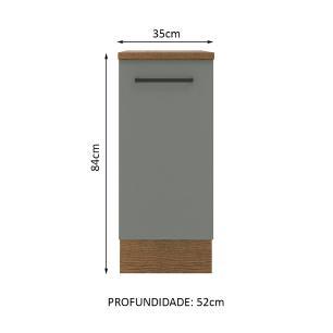 Balcão Madesa Agata 35 cm 1 Porta - Rustic/Cinza