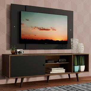 Rack Madesa Dubai com Pés e Painel para TV até 58 Polegadas - Rustic/Preto 7KD8
