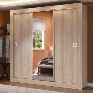 Guarda-Roupa Casal Madesa Texas Plus 3 Portas de Correr com Espelho - Saara