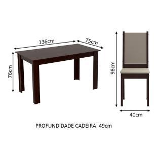 Conjunto Sala de Jantar Amanda Madesa  Mesa Tampo de Madeira com 6 Cadeiras