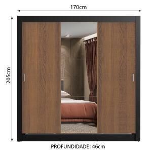 Guarda Roupa Casal Madesa Lyon 3 Portas de Correr com Espelho 2 Gavetas