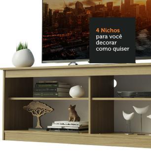 Rack Madesa Pequim e Painel para TV até 65 Polegadas - Carvalho/Branco
