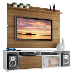 Rack Madesa Cancun e Painel para TV até 65 Polegadas - Branco/Rustic/Rustic