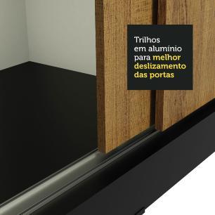 Guarda-Roupa Casal Madesa Istambul 3 Portas de Correr de Espelho 3 Gavetas - Preto/Rustic