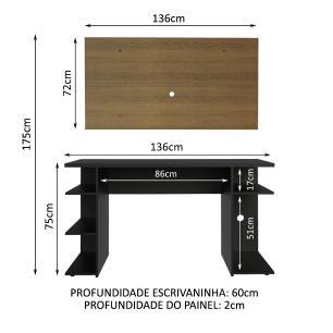 Mesa Gamer Madesa 9409 e Painel para TV até 50 Polegadas - Preto/Rustic