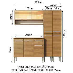 Cozinha Compacta Madesa Emilly Winter com Armário Vidro Reflex e Balcão
