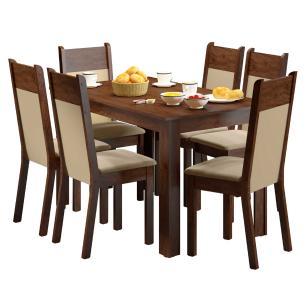 Conjunto Sala de Jantar Honduras Madesa Mesa Tampo de Madeira com 6 Cadeiras