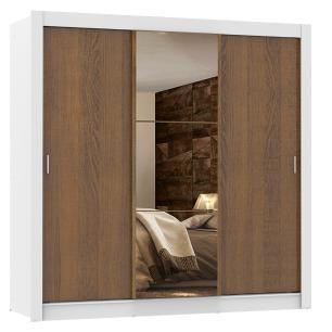Guarda Roupa Casal Madesa Lyon Plus 3 Portas de Correr com Espelho 4 Gavetas - Branco/Rustic