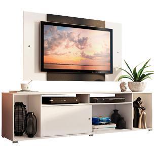 Rack Madesa Cancun e Painel para TV até 58 Polegadas - Branco/Preto