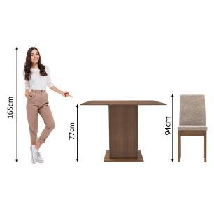 Conjunto Sala de Jantar Madesa Maitê Mesa Tampo de Madeira com 4 Cadeiras