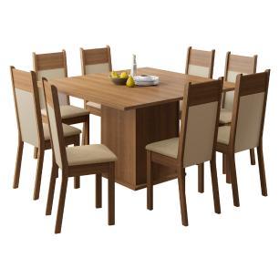Conjunto Sala de Jantar Madesa Panamá Mesa Tampo de Madeira com 8 Cadeiras