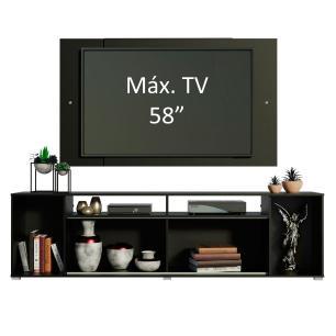 Rack Madesa Cancun e Painel para TV até 58 Polegadas - Preto