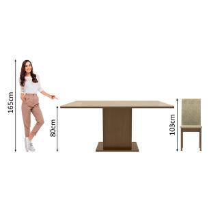 Conjunto Sala de Jantar Madesa Moscou Mesa Tampo de Vidro com 6 Cadeiras - Rustic/Crema/Imperial