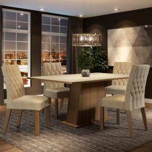 Conjunto Sala de Jantar Madesa Ingrid Mesa Tampo de Madeira com 4 Cadeiras