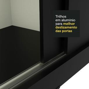 Guarda-Roupa Casal Madesa Istambul 3 Portas de Correr com Espelho 3 Gavetas - Preto