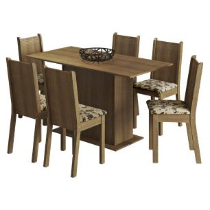 Conjunto Sala de Jantar Madesa Celeny Mesa Tampo de Madeira com 6 Cadeiras