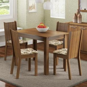 Conjunto Sala de Jantar Madesa Rute Mesa Tampo de Madeira com 4 Cadeiras
