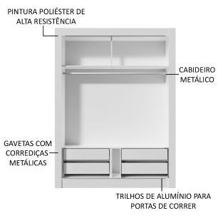 Kit Madesa Guarda-Roupa Infantil Dallas Plus 2 Portas de Correr + Beliche Larissa