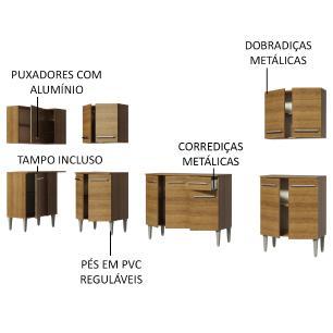 Cozinha Completa de Canto Madesa Emilly Rock com Armário, Balcão e Adega
