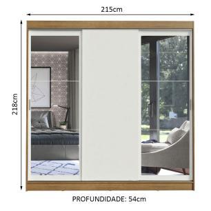 Guarda-Roupa Casal Madesa Istambul 3 Portas de Correr com Espelhos 3 Gavetas - Rustic/Branco