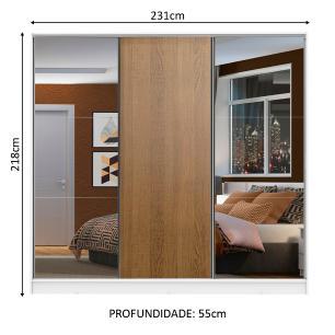 Guarda Roupa Casal 100% MDF Madesa Zurique 3 Portas de Correr com Espelhos - Branco/Rustic